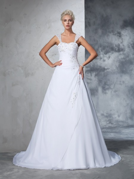 Ball Gown Chiffon Applique Sleeveless Court Train Wedding Dresses
