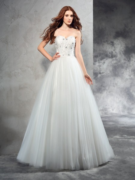 A-Line/Princess Net Beading Sleeveless Floor-Length Wedding Dresses