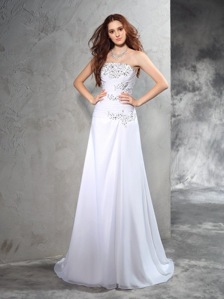Sheath/Column Chiffon Beading Sweep/Brush Train Sleeveless Wedding Dresses