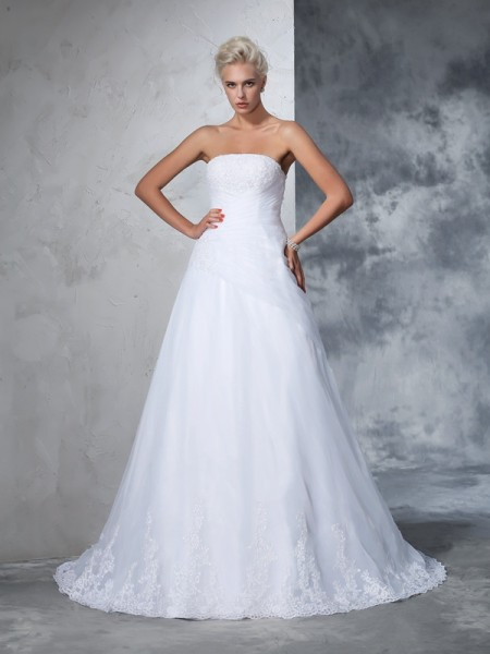Ball Gown Net Applique Sleeveless Court Train Wedding Dresses