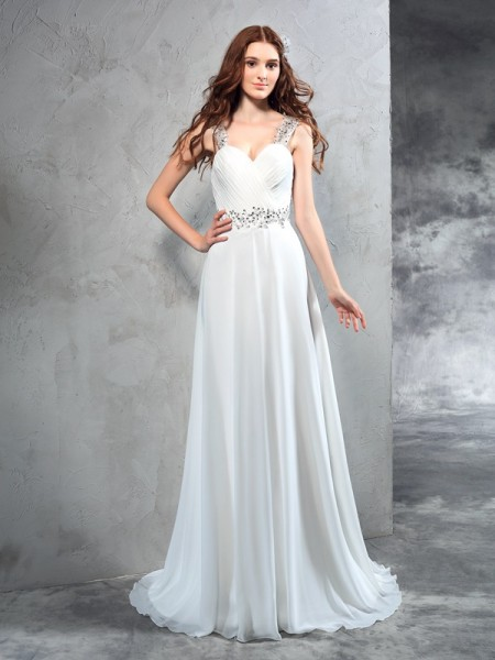 A-Line/Princess Chiffon Sleeveless Pleats Sweep/Brush Train Wedding Dresses