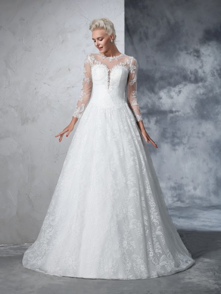 Ball Gown Lace Long Sleeves Court Train Wedding Dresses