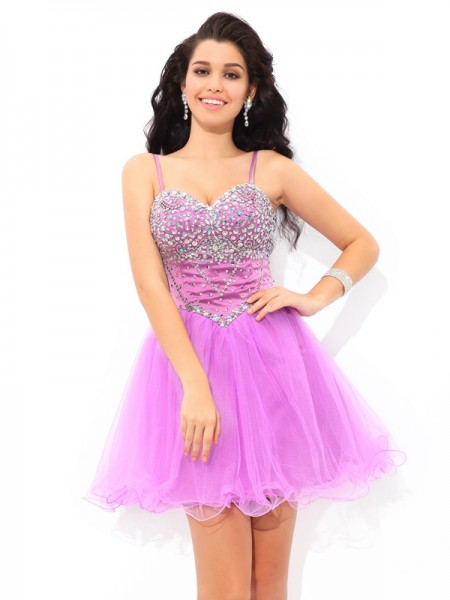 A-Line/Princess Net Paillette Sleeveless Short/Mini Dresses