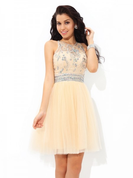 A-Line/Princess Net Beading Short/Mini Sleeveless Dresses