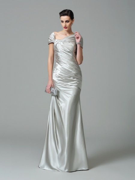 Sheath/Column Silk like Satin Sleeveless Pleats Floor-Length Dresses