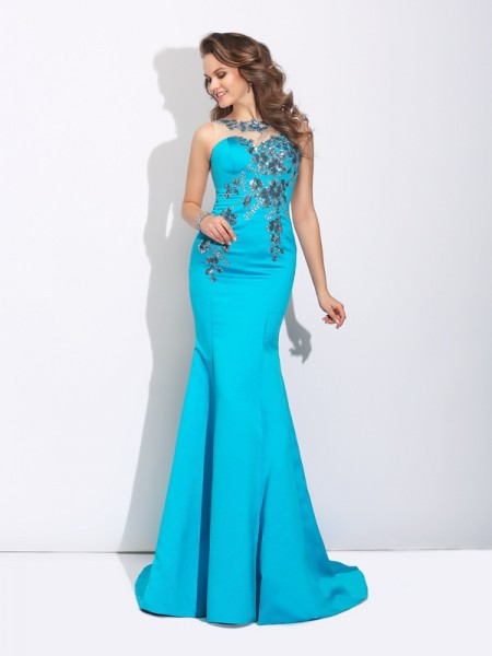 Trumpet/Mermaid Satin Sleeveless Applique Sweep/Brush Train Dresses