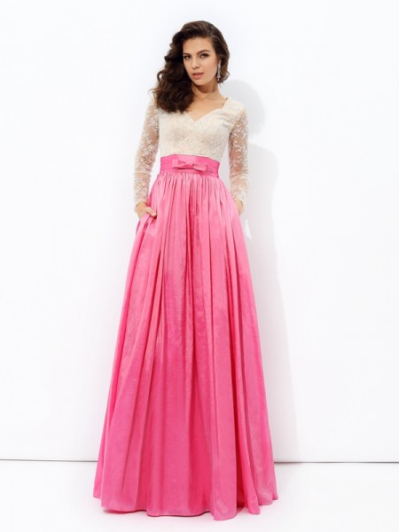 A-Line/Princess Taffeta Lace Floor-Length Long Sleeves Dresses