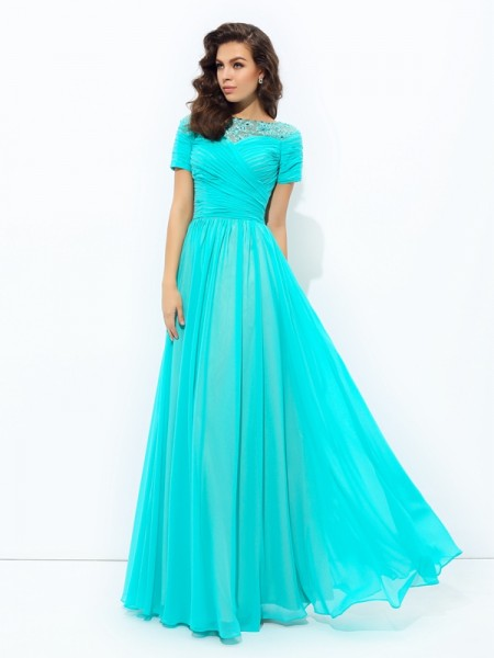 A-Line/Princess Chiffon Floor-Length Lace Short Sleeves Dresses