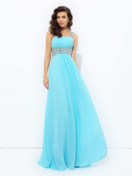 A-Line/Princess Chiffon Sleeveless Floor-Length Sequin Dresses