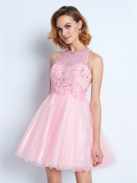 A-Line/Princess Net Short/Mini Ruffles Sleeveless Dresses