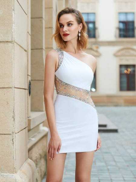 Sheath/Column Net Sleeveless Beading Short/Mini Dresses