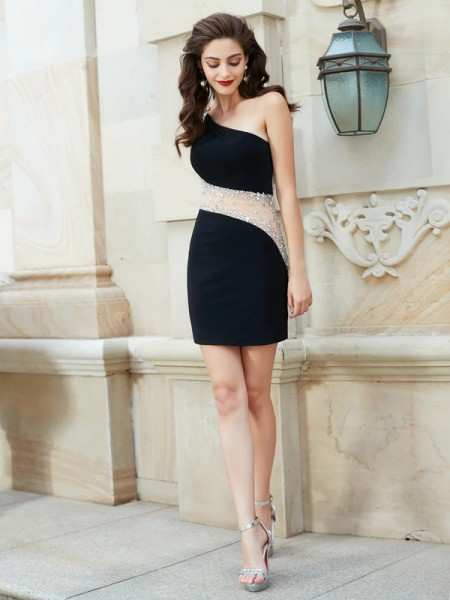 Sheath/Column Net Beading Short/Mini Sleeveless Dresses