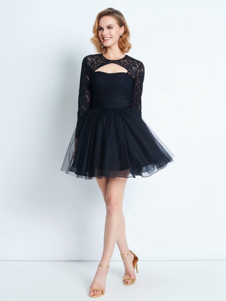 A-Line/Princess Net Lace Short/Mini Long Sleeves Dresses