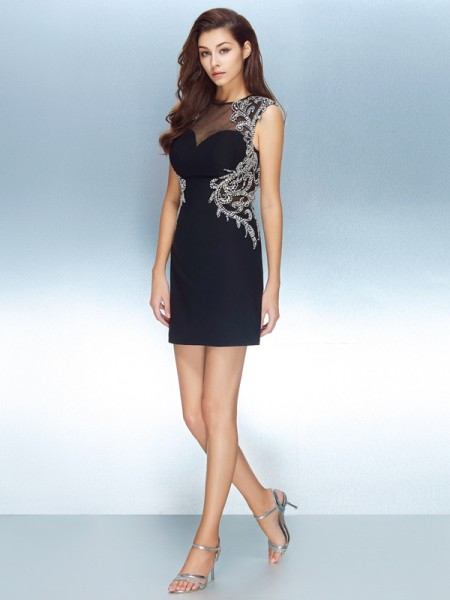 Sheath/Column Net Short Sleeves Short/Mini Crystal Dresses