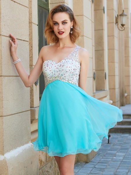 A-Line/Princess Chiffon Beading Short/Mini Sleeveless Dresses