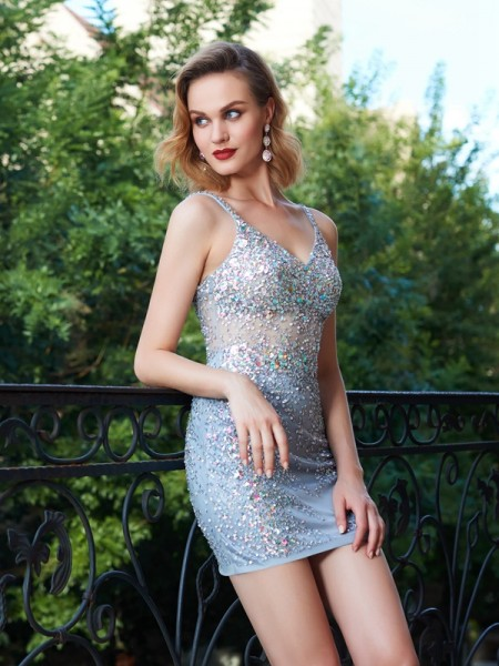 Sheath/Column Net Sequin Sleeveless Short/Mini Dresses