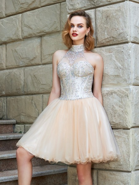 A-Line/Princess Net Sleeveless Short/Mini Beading Dresses