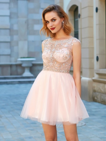 A-Line/Princess Net Short Sleeves Beading Short/Mini Dresses