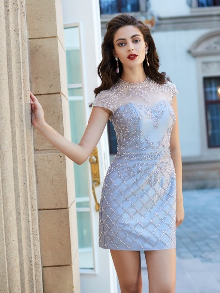 Sheath/Column Satin Beading Short/Mini Short Sleeves Dresses