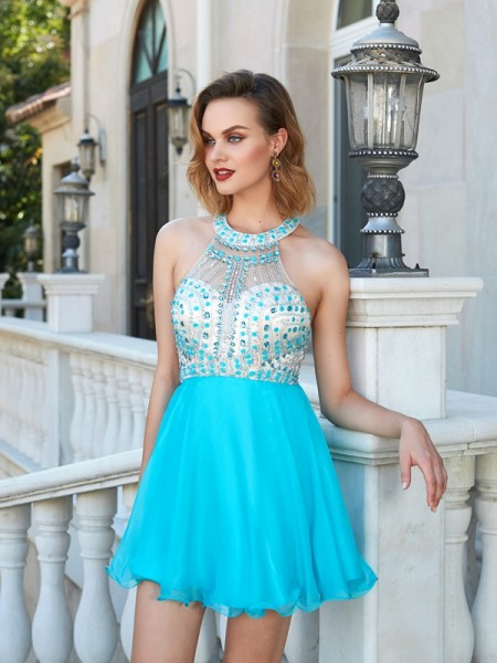 A-Line/Princess Sleeveless Beading Chiffon Short/Mini Dresses