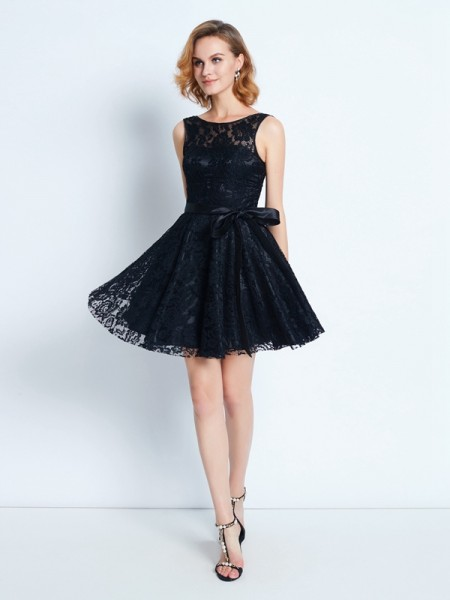 A-Line/Princess Lace Short/Mini Sash/Ribbon/Belt Sleeveless Dresses