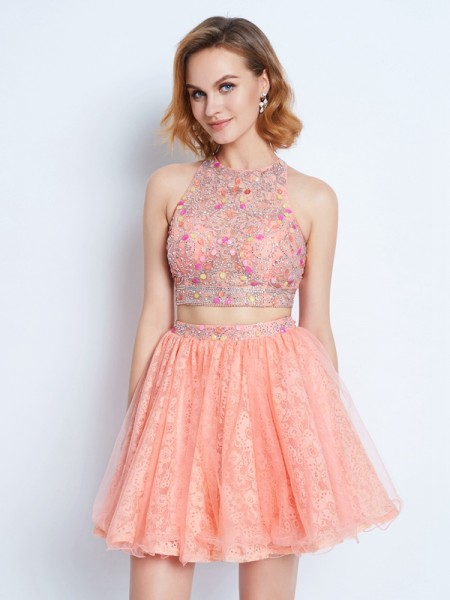 A-Line/Princess Sleeveless Lace Short/Mini Dresses