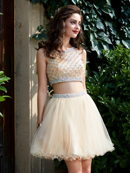 A-Line/Princess Net Sleeveless Beading Short/Mini Dresses