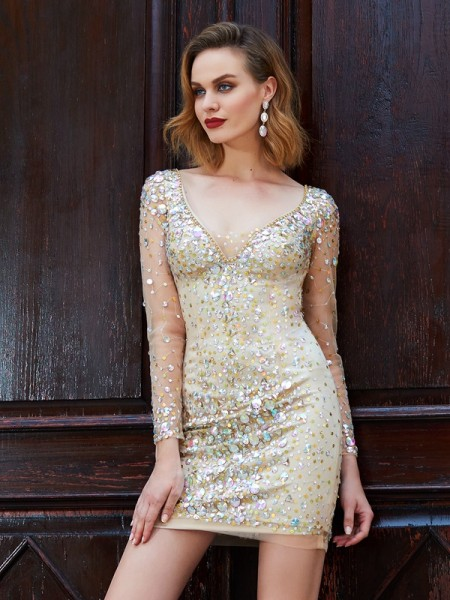 Sheath/Column Net Rhinestone Long Sleeves Short/Mini Dresses