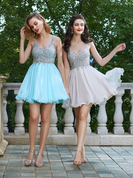 A-Line/Princess Chiffon Sleeveless Rhinestone Short/Mini Dresses