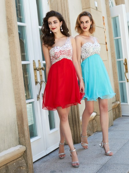 A-Line/Princess Chiffon Sleeveless Beading Short/Mini Dresses