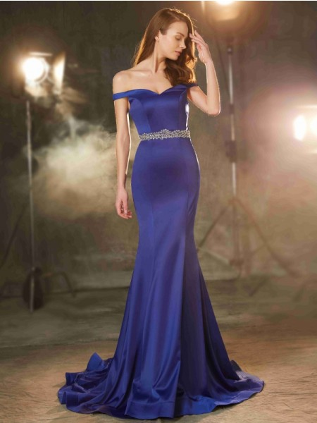 Trumpet/Mermaid Satin Crystal Sweep/Brush Train Sleeveless Dresses