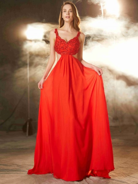 A-Line/Princess Chiffon Applique Sleeveless Sweep/Brush Train Dresses