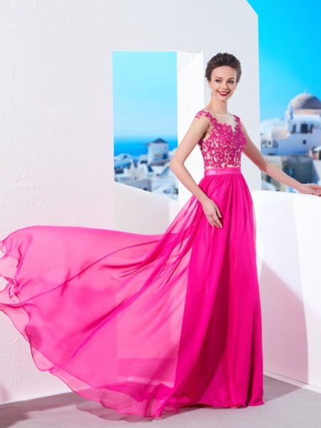 A-Line/Princess Chiffon Applique Sleeveless Dresses