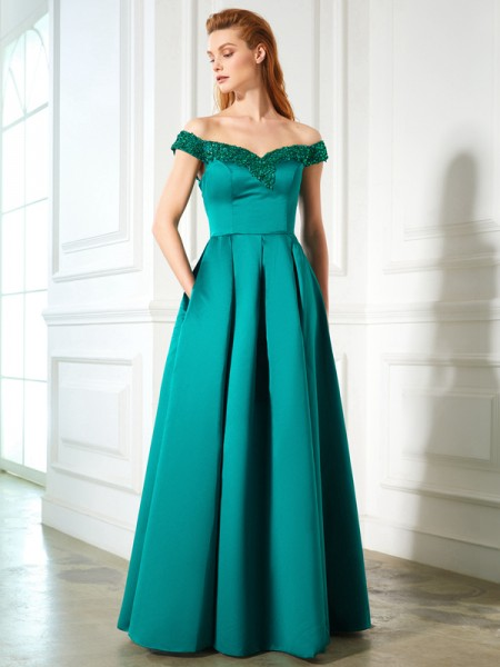 A-Line/Princess Satin Sequin Floor-Length Sleeveless Dresses