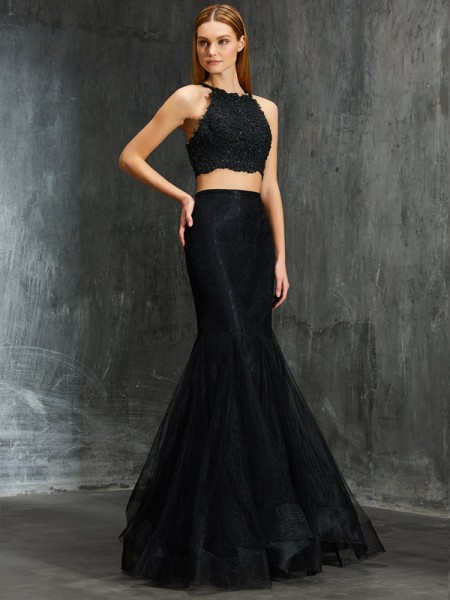 Trumpet/Mermaid Net Applique Sleeveless Sweep/Brush Train Floor-Length Dresses