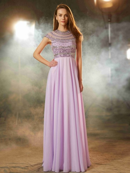 A-Line/Princess Chiffon Beading Short Sleeves Floor-Length Dresses