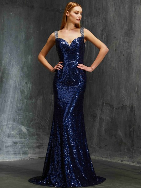 Sheath/Column Sequins Beading Sleeveless Sweep/Brush Train Dresses