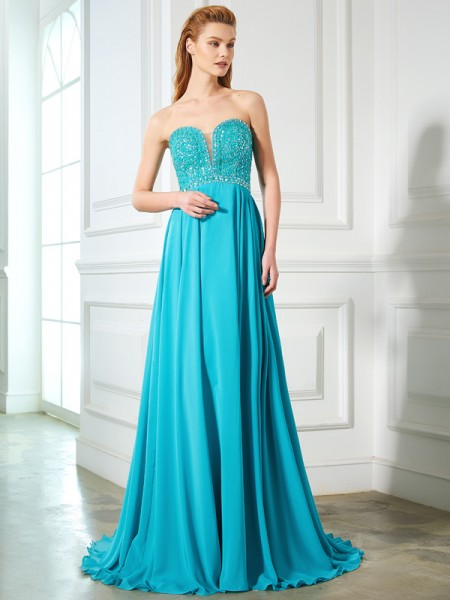 A-Line/Princess Chiffon Sleeveless Sweep/Brush Train Beading Dresses