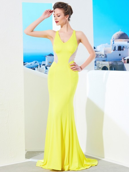 Trumpet/Mermaid Spandex Beading Sweep/Brush Train Sleeveless Dresses