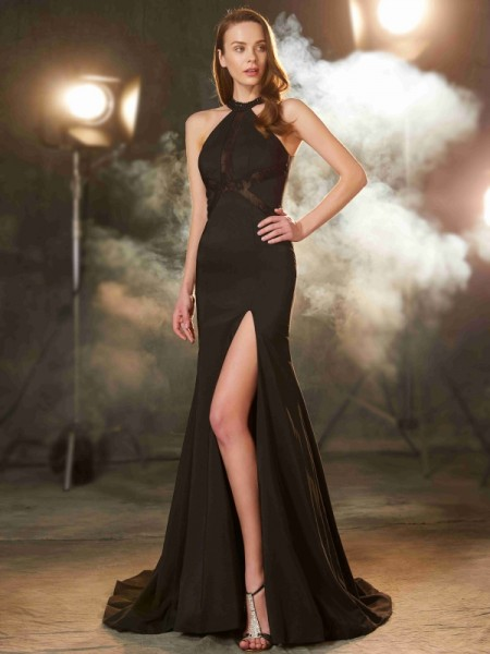 Sheath/Column Elastic Woven Satin Beading Sleeveless Sweep/Brush Train Dresses