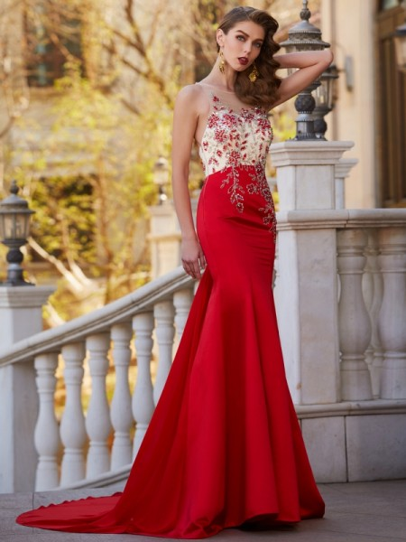 Trumpet/Mermaid Satin Sleeveless Applique Court Train Dresses