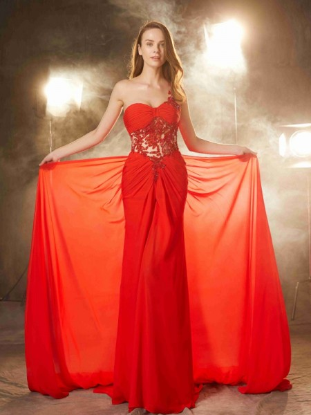 Sheath/Column Chiffon Beading Sleeveless Sweep/Brush Train Dresses
