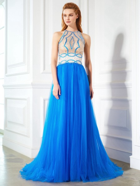 A-Line/Princess Net Beading Sleeveless Floor-Length Dresses