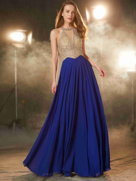 A-Line/Princess Crystal Floor-Length Chiffon Sleeveless Dresses