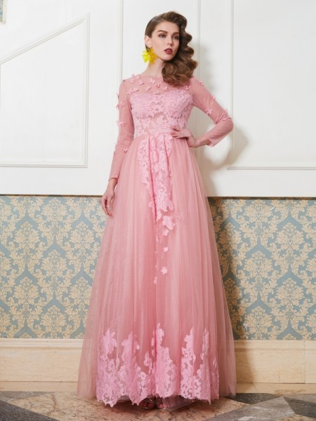 A-Line/Princess Tulle Applique Floor-Length 3/4 Sleeves Dresses
