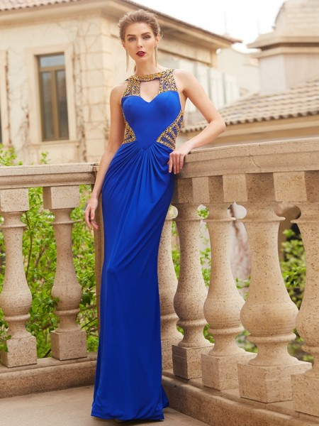 Sheath/Column Spandex Beading Sleeveless Floor-Length Dresses