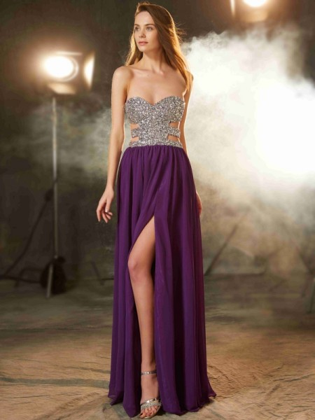 A-Line/Princess Chiffon Crystal Sleeveless Floor-Length Dresses