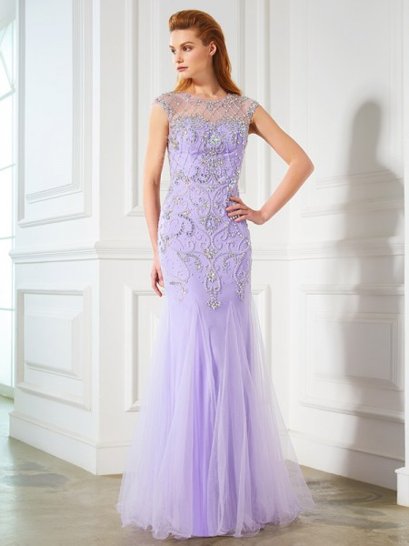 Trumpet/Mermaid Tulle Beading Floor-Length Sleeveless Dresses