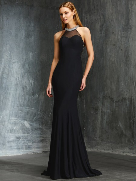 Sheath/Column Spandex Beading Sweep/Brush Train Sleeveless Dresses