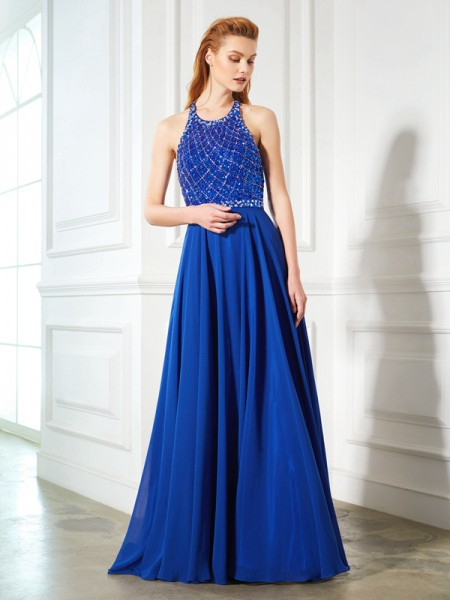 A-Line/Princess Chiffon Beading Sleeveless Sweep/Brush Train Dresses